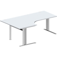 Hoekbureautafel, PLANOVA BASIC, B 2000 mm, lichtgrijs, onderstel blank aluminium