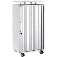 Hoge container, met wielen, vergrendelbaar, B 600 x D 420 x H 1178 mm, lichtgrijs