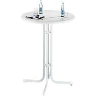 Hoge tafel Quickstep met parasolopening, desinfectiemiddelbestendig, Ø 850 mm, wit