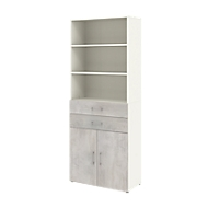 Home Office combikast TEMPIO, van hout, 2 deuren, 2 laden, 6 OH, B 400 x D 340 x H 2130 mm, wit/beton