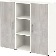 Home Office dressoir TEMPIO, van hout, 2 deuren, 1 legplank, 3 OH, B 1200 x D 340 x H 1070 mm, wit/beton