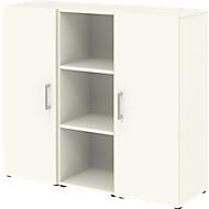 Home Office Sideboard TEMPIO, aus Holz, 2 Türen, 1 Regal, 3 OH, B 1200 x T 340 x H 1070 mm, weiß/weiß