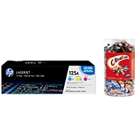 HP 125A Tripack LaserJet CF373AM Toner cyan/magenta/gelb + Celebrations GRATIS, original
