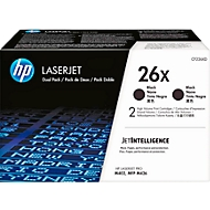 HP Color LaserJet 2 x 26X (CF226XD) printcassettes, zwart SET