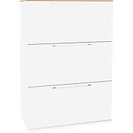 HR-Schrank SOLUS, 3 OH, H 1123 x B 800 x T 440 mm, weiß/Kirsche-Romana