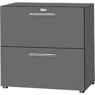 HR-Schrank Start Up, 2 OH, abschließbar, B 800 x T 420 x H 744 mm, Holz, graphit/graphit