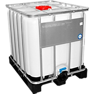 IBC Behälter Gefahrgut, mit Kunststoffpalette, Maße H 1163 x B 1000 x L 1200 mm, 1000 l