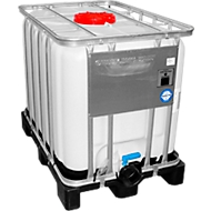IBC Behälter Gefahrgut, mit Kunststoffpalette, Maße H 1163 x B 1000 x L 1200 mm, 600 l