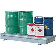 IBC opvangbak, staal, met rooster, 320 ltr. inhoud, B 2082 x D 1028 x H 235 mm, gegalvaniseerd
