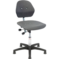 Industrie-bureaustoel Solid, kunststof kruisvoet. m. gl., 460-590 mm