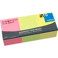 INFO Haftnotizen Brillant, 50 mm x 40 mm, 12 x 80 Blatt, gelb, orange, grün