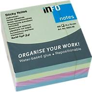 INFO post-its Briljant, 75 mm x 75 mm, 1 x 400 vellen, pastelgroen, geel, blauw, roze