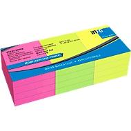 inFO Power Notes Kleefbriefjes, 50 x 40 mm, 80 vellen per pad, 12 pads, 3 kleuren