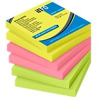 inFO Power Notes plakbriefjes, 75 x 75 mm, 80 vellen per pad, 6 pads, 3 kleuren