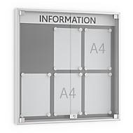 Informatiebord met openslaande deuren, 60 mm diep, 3 x 2, aluminium zilver