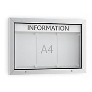 Informatiebord WSM, Horizontaal formaat, B 750 x D 70 x H 500 mm, voor binnen en buiten, afsluitbaar, incl. 10 magneten & tekstlijst,