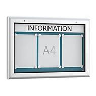 Informatiebord WSM, Horizontaal formaat, B 800 x D 45 x H 545 mm, voor binnen en buiten, afsluitbaar, achterwand blauw