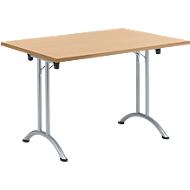 Inklapbare tafel, 1200 x 700 mm, beuken/blank aluminium