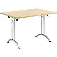 Inklapbare tafel, 1200 x 700 mm, esdoorn/chroom