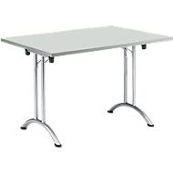 Inklapbare tafel, 1200 x 700 mm, lichtgrijs/chroom