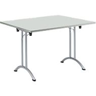 Inklapbare tafel, 1200 x 800 mm, lichtgrijs/blank aluminium