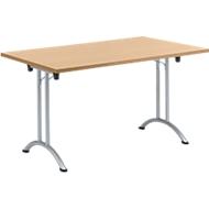 Inklapbare tafel, 1400 x 700 mm, beuken/blank aluminium