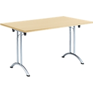 Inklapbare tafel, 1400 x 700 mm, esdoorn/chroom