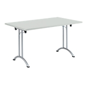 Inklapbare tafel, 1400 x 700 mm, lichtgrijs/blank aluminium
