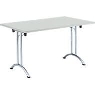 Inklapbare tafel, 1400 x 700 mm, lichtgrijs/chroom