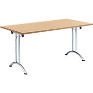 Inklapbare tafel, 1600 x 700 mm, beuken/chroom