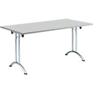 Inklapbare tafel, 1600 x 700 mm, lichtgrijs/chroom