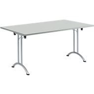 Inklapbare tafel, 1600 x 800 mm, lichtgrijs/blank aluminium