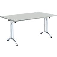 Inklapbare tafel, 1600 x 800 mm, lichtgrijs/chroom