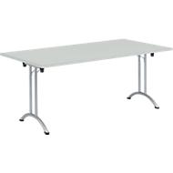 Inklapbare tafel, 1800 x 800 mm, lichtgrijs/blank aluminium