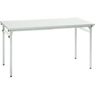 Inklapbare tafel, 4 poten met inklapbeslag, l 1200 x b 800 x 725 mm, onderstel lichtgrijs, tafelblad grijs