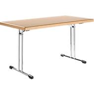 Inklapbare tafel 734-14, 1400 x 700 mm, onderstel verchroomd, beuken