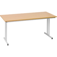 Inklapbare tafel TR, B 1600 x D 700 x H 720 mm, beukenpatroon/aluminium zilver