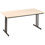 Inklapbare tafel TR, B 1600 x D 700 x H 720 mm, esdoornpatroon/zwart