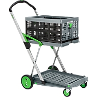 Inklapbare trolley CLAX® incl. vouwkrat, 46 l, grijs/groen