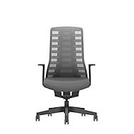 Interstuhl Bürostuhl PUREis3, feste Armlehnen, 3D-Auto-Synchronmechanik, Muldensitz, Netzrücken, eisengrau/schwarz