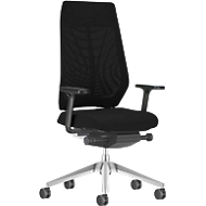 Interstuhl bureaustoel JoyceIS3, synchroonmechanisme, armleuningen, gazen rugleuning, vlakke zitting, lichtgrijs/zwart