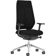 Interstuhl bureaustoel JoyceIS3, synchroonmechanisme, armleuningen, gazen rugleuning, vlakke zitting, zwart/zwart