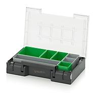 Inzetbak-set voor assortimentsdoos 300 x 200 mm, ABS-kunststof, Rasterafmetingen 2 x 2, 1 x 2, 1 x 4 en 1 x 1, grijs/groen, 7-delig