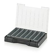 Inzetbak-set voor assortimentsdoos 400 x 300 mm, ABS-kunststof, rasterafmeting 1 x 5, grijs, 7-delig