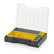 Inzetbak-set voor assortimentsdoos 400 x 300 mm, ABS-kunststof, versch. rasterafmetingen, grijs/geel, 11-delig