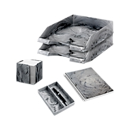 Jalema Schreibtisch-Set Marmor Line, in Marmoroptik, 5-teilig, hellgrau
