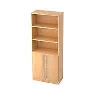 JENA combi-boekenkast, 5 OH, 3 open vakken + 2 deuren, B 800 x D 420 x H 2004 mm, ahorndecor