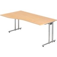 JENA Schreibtisch, C-Fuß, B 1800 mm, Gestell verchromt, Ahorn-Dekor