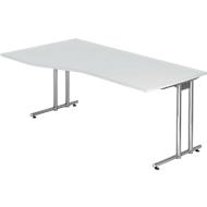 JENA Schreibtisch, C-Fuß, B 1800 mm, Gestell verchromt, lichtgrau