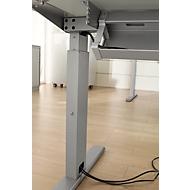 Kabelgoot van staal, 1200 mm, blank aluminium, voor tafels vanaf 1600 mm breed